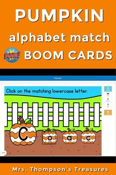 Simple and fun online Boom Cards! This activity is great for preschool, prek, or kindergarten students to practice recognizing and matching the capital and lowercase letters of the alphabet. Cute pumpkin theme that is perfect for fall or Halloween. #alphabet #kindergarten #boomcards #boomlearning