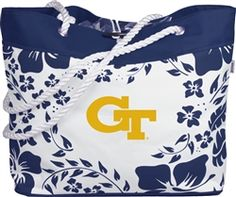 $24 Our Hibiscus Rope Tote is the perfect way to support your team in style. Rope handles with  piping on the bottom and a toggle closure and more make this great.
