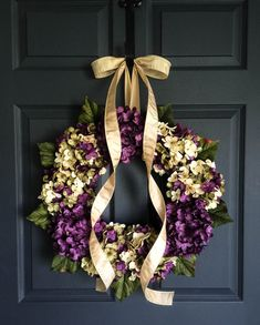 Blended Hydrangea Wreath Purple and Cream by HomeHearthGarden