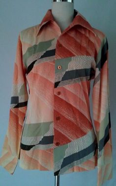 VTG Disco 1970s Psychedelic Pattern Men's Shirt Styled in California Small EUC