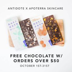 Yeeess. . . Free Antidote Chocolate bar with every order over $50 this month!  No need for a coupon, we'll include a bar automatically with your order …