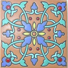High relief tile 'Britany' from Mexico is ideal for any indoor outdoor decor project. Use relief tile alone or combine them into creative mosaics. high relief tile proportions are 3x3, 4x4 and 6x6  #myMexicanTile