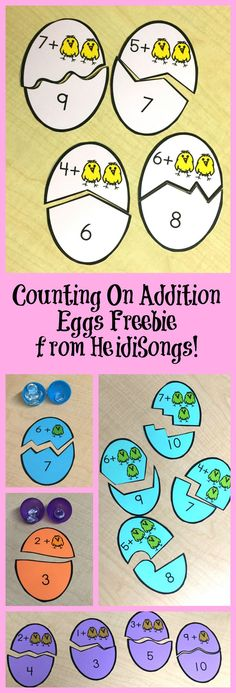 Kids to Count On in Addition- Freebie! Counting On Addition Eggs Freebie From HeidiSongs!Counting On Addition Eggs Freebie From HeidiSongs! Kindergarten Centers, Math Centers, Math Addition, Teaching Addition, Grande Section, Math Workshop, 1st Grade Math, Homeschool Math, Math For Kids