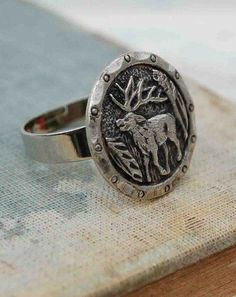 Deer RING Vintage Pewter Button Ring Forest