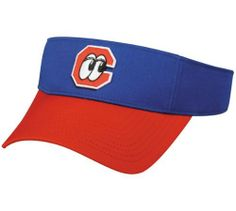 0348305f8b4 MiLB Minor League ADULT Chattanooga LOOKOUTS VISOR Red Royal Blue Adjustable  Velcro TWILL