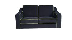 Black loveseat sofa with green stripes