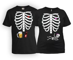 e6aca75e Matching Pregnancy Baby Girl Skeleton Shirt And Beer Ribcage T Shirt -  Price… Pregnant Halloween
