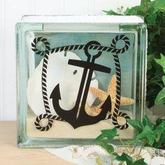 Nicole™+Crafts+Nautical+Vinyl+Glass+Block