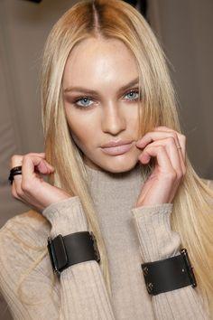 Candice Swanepoel makeup straight blond hair dewy skin