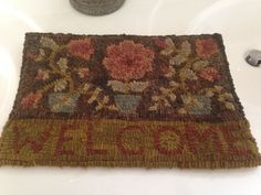 PRIMITIVE HAND HOOKED WOOL RUG FLOWERS POT WELCOME P. TEICH SIGNED USA