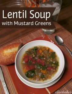 Lentil Soup with Mustard Greens - olive oil - garlic clove - onion - carrots - celery - can diced tomatoes - oregano - cumin - dried lentils - 4 cups mustard greens Canning Recipes, Soup Recipes, Healthy Recipes, Healthy Foods, Veggie Soup, Vegetable Recipes, I Love Food, Good Food, Green Soup