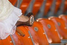 Great Wedding Dress Accessory - Cleveland Browns Heels for that subtle nod to your favorite team.  #footballwedding