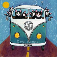 "Road Trip Bus Cats Ryan Conners What fun to give to your aging hippy or wannabe!! Also has VW beetles as well as vans Folk Art Digital PrintImage is 7""x7"" on 8.5X11 Only $18!!"