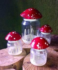 Small Mushroom Stash Jar Glass Nug Jug with by oldcityartmaker, $10.99
