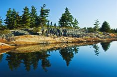 Mike Grandmaison Solid-Faced Canvas Print Wall Art Print entitled Tree's Reflection In Water, Georgian Bay, Ontario, Canada Ontario Cottages, Cool Pictures, Cool Photos, Bay Photo, Algonquin Park, Water Reflections, Take Better Photos, Great Photographers, Watercolor Landscape