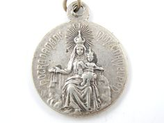 Large Vintage Our Lady of Mount Carmel - Sacred Heart of Jesus Silver Catholic Medal - Religious Charm - P42 by LuxMeaChristus on Etsy