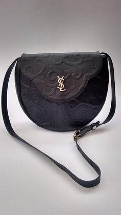 94ed84ee753f YSL Yves Saint Laurent Vintage Black Leather with Arabesque Pattern Shoulder  Bag   Clutch. French designer purse.