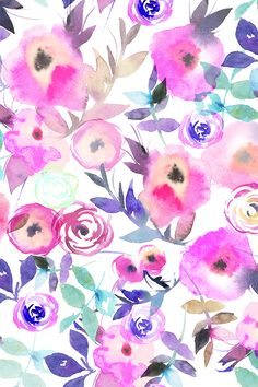 Beautiful floral watercolor painting by holaholga on fabric, wallpaper, and gift wrap.  Hand painted flowers in pink, blue, teal, and purple n a painterly watercolor style.