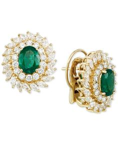 Rare Featuring Gemfields Certified Emerald (1-9/10 ct. t.w.) and Diamond (2-1/2 ct. t.w.) Stud Earrings in 14k Gold