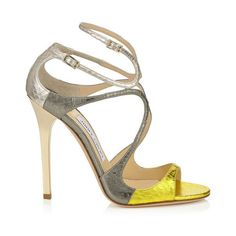 Acid Yellow, Dark Moss and Marble Metallic Elaphe Mix Strappy Sandals... ($767) ❤ liked on Polyvore featuring shoes, sandals, yellow shoes, strappy sandals, metallic sandals, jimmy choo shoes and jimmy choo sandals