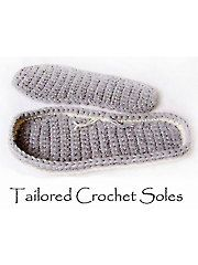 Tailored Crochet Tray Sole, Use a triple strand of sport-weight yarn or any other heavy craft-weight yarn or twine. Includes detailed, step-by-step instructions w/ pictures & cutout templates for sizes- S: (M: L: XL: Stitch a tailored crochet tray sole fo Crochet Sole, Crochet Slipper Pattern, Crochet Boots, Crochet Clothes, Free Crochet, Knit Crochet, Crochet Patterns, Crochet Ideas, Knitted Slippers
