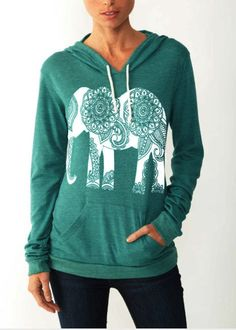 Womens Paisley ELEPHANT Hoodie Tshirt Lightweight by FreeBirdCloth