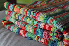 mixed stitch stripy blanket by Julie Harrison