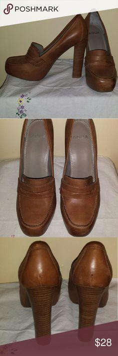 Selling this Aqua camel brown buckle heels. Block heel. Sz 7.5 on Poshmark! My username is: lilbunnyfoofoo. #shopmycloset #poshmark #fashion #shopping #style #forsale #Aqua #Shoes