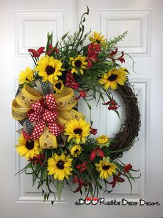 Sunflower Wreath, Summer Sunflower Wreath, Rustic Sunflower Decor, Sunflower Door Hanger, Summer Wreath, Summer Floral Wreath, Summer Door by aDOORableDecoDecor on Etsy