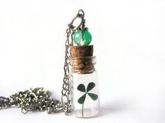 Four Leaf Clover Glass Bottle Necklace - Tiny Clover  in Glass Vial -  Pressed Flower Jewelry - Glass Bottle Pendant -  Lucky Pendant