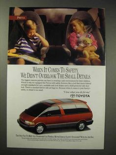This listing is for a vintage paper advertisement. This is a 1993 ad for a Toyota Previa! The size of the ad is approximately The caption for this ad is 'When it comes to safety, we didn't overlook the small details' The ad is in. Toyota Previa, Car Advertising, Vw Bus, Toyota Celica, Vintage Paper, Things To Come, Detail, Vans, Van
