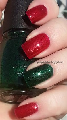 China Glaze's amazing Ruby Pumps and Emerald Sparkle - a great combo to wear for holiday. Easy look for those who don't do nail art!