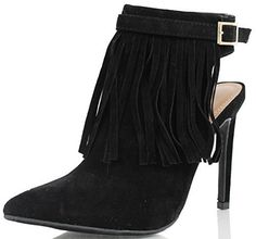Anne Michelle Womens Stepup Pointy Toe Fringe Open Back High Heel Black 65 M US -- Locate the offer simply by clicking the VISIT button