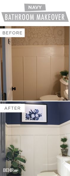 A fresh new paint color makes all the difference in this DIY navy bathroom makeover from Sara, of Sincerely Sara D. Sara used BEHR Paint in Dark Denim on her bathroom walls and painted her door with the neutral hue of Orion Gray. Click here to view her full easy tutorial for yourself.