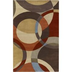 Hand-tufted Contemporary Multi Colored Circles Mayflower Wool Geometric Rug   Overstock.com