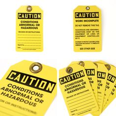 tag CAUTION CARD10枚セット サイズW90×H153(mm) 素材ポリプロピレン カラー イエロー 備考 アメリカ製/10枚セット