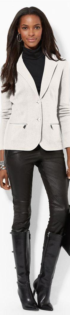Lauren Cotton Two-Button Blazer
