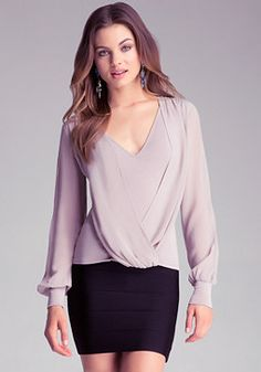 Shop bebe for: Tops - Silk Wrap Top - With a gorgeous draped, wrap-style front, this long sleeved top defines effortless polish. Texas Fashion, Sexy Blouse, Going Out Tops, Silk Wrap, Blouse Patterns, Contemporary Fashion, Casual Looks, Blouses For Women, Cool Style