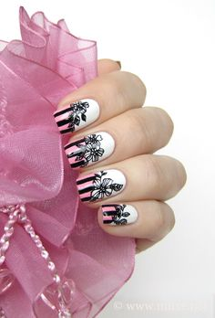 Pink stripes and black flowers