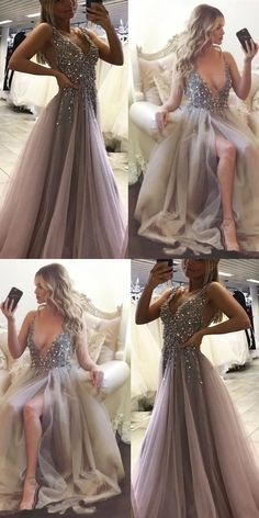 Sexy Side Split Prom Dress,Sleeveless Tulle Evening Dress,Long Party Dress G005#prom #promdress #promdresses #longpromdress #promgowns #promgown #2018style #newfashion #newstyles #2018newprom#split#sexy#tulle