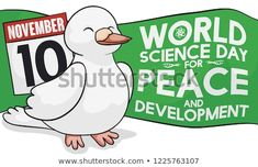 Cute, happy dove with loose-leaf calendar celebrating World Science Day for Peace and Development with a green greeting label this November World Science Day, Special Day, November, Royalty Free Stock Photos, Calendar, Label, Peace, Celebrities, Happy