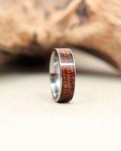 Titanium and Koa Wood Ring Titanium Ring by WedgewoodRings on Etsy, $215.00