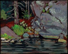 Lichen Covered Rocks, Bryce's Island, Lake of the Woods, 1918 Johnston, Franz Oil on wood-pulp board Overall: 26.6 x 33.6 cm