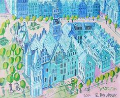 Edward Dwurnik,Wrocław 46x55 4500zl City Photo, Art, Drawings, Poster, Kunst, Art Education, Artworks