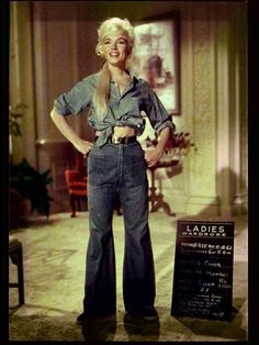 """Marilyn Monroe in a denim ensemble in a test photo on the set of """"Something's Got to Give"""" 1962 [ Iconic Denim. CV ]"""