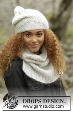 """Set consists of: Knitted DROPS hat and neck warmer in double seed st in """"Alpaca"""" and """"Kid-Silk"""". Size S - L Free pattern by DROPS Design. Knitting Patterns Free, Knit Patterns, Free Knitting, Baby Knitting, Free Crochet, Knit Crochet, Free Pattern, Drops Design, Knitted Slippers"""