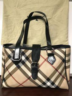 da3fdc0c62 Details about Authentic BURBERRY LONDON Nova Check PVC Canvas Leather Beige  Tote Bag BT16335L