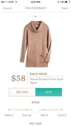 Emily Rose Cowl neck sweater. I love Stitch Fix! A personalized styling service and it's amazing!! Simply fill out a style profile with sizing and preferences. Then your very own stylist selects 5 pieces to send to you to try out at home. Keep what you love and return what you don't. Only a $20 fee which is also applied to anything you keep. Plus, if you keep all 5 pieces you get 25% off! Free shipping both ways. Schedule your first fix using the link below! #stitchfix @stitchfix. Stitchfix…