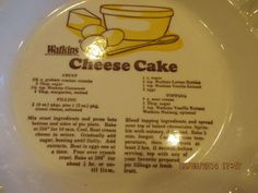 Vintage 1981 Watkins Cheese Cake Recipe Pie Plate Dish | eBay