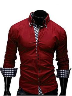 GET $50 NOW   Join RoseGal: Get YOUR $50 NOW!http://www.rosegal.com/mens-shirt/checked-splicing-design-turn-down-collar-657861.html?seid=6972388rg657861